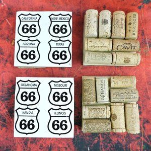Other - Route 66 Coaster Set of 4 with Wine Cork Bottoms